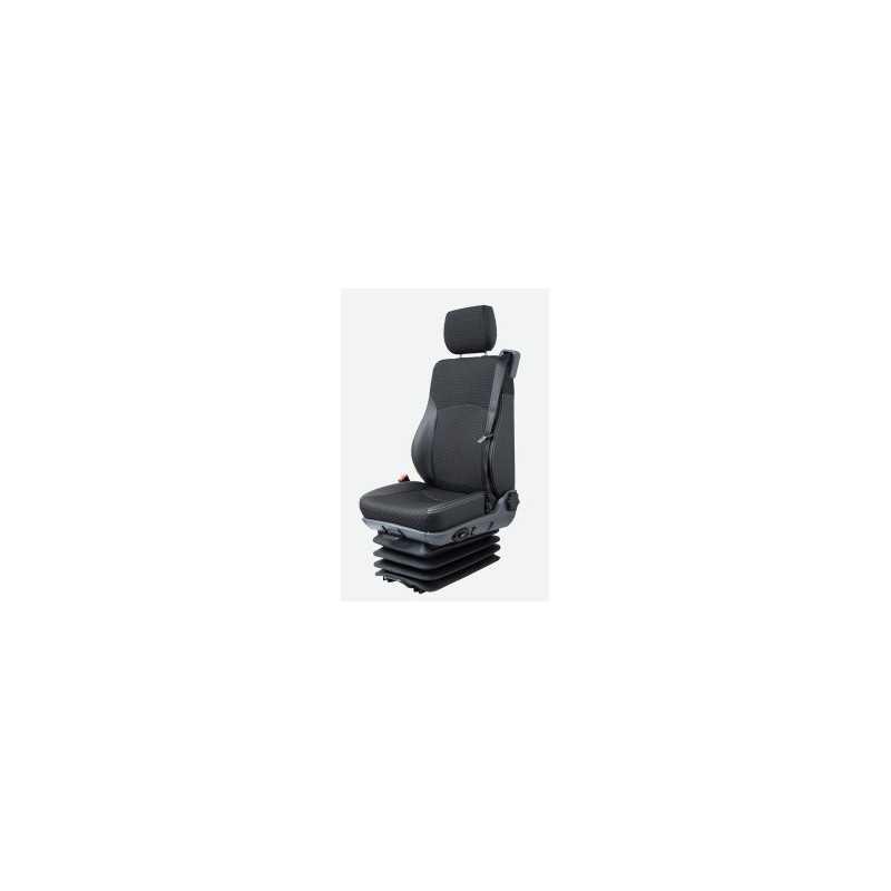 Siège electro-pneumatique réglable, commande à gauche, ceinture 3pts, tissu gris, sans accoudoirs, entraxe 216 mm