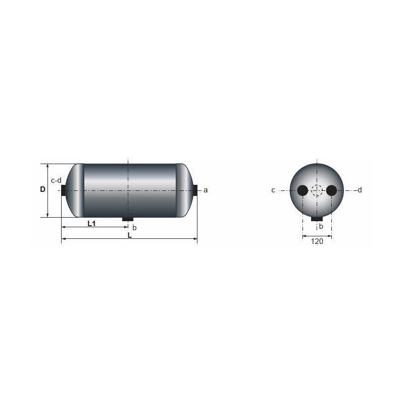 Réservoir d'air 20 Litres pour Iveco EuroTech