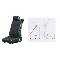 siège fixe, ceinture enrouleurs 3 pts, tissu, entraxe 216mm et gris