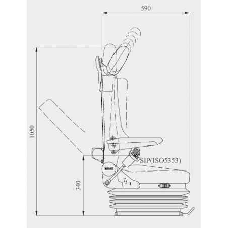 Siège Conducteur pneumatique, lombaire mécaniques, ceinture 3pts intégrée, tissu gris, entraxe 216 mm