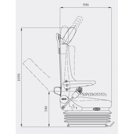 Siège pneumatique, lombaires mécanique, ceinture 3pts, tissu, accoudoirs, entraxe 230mm et gris
